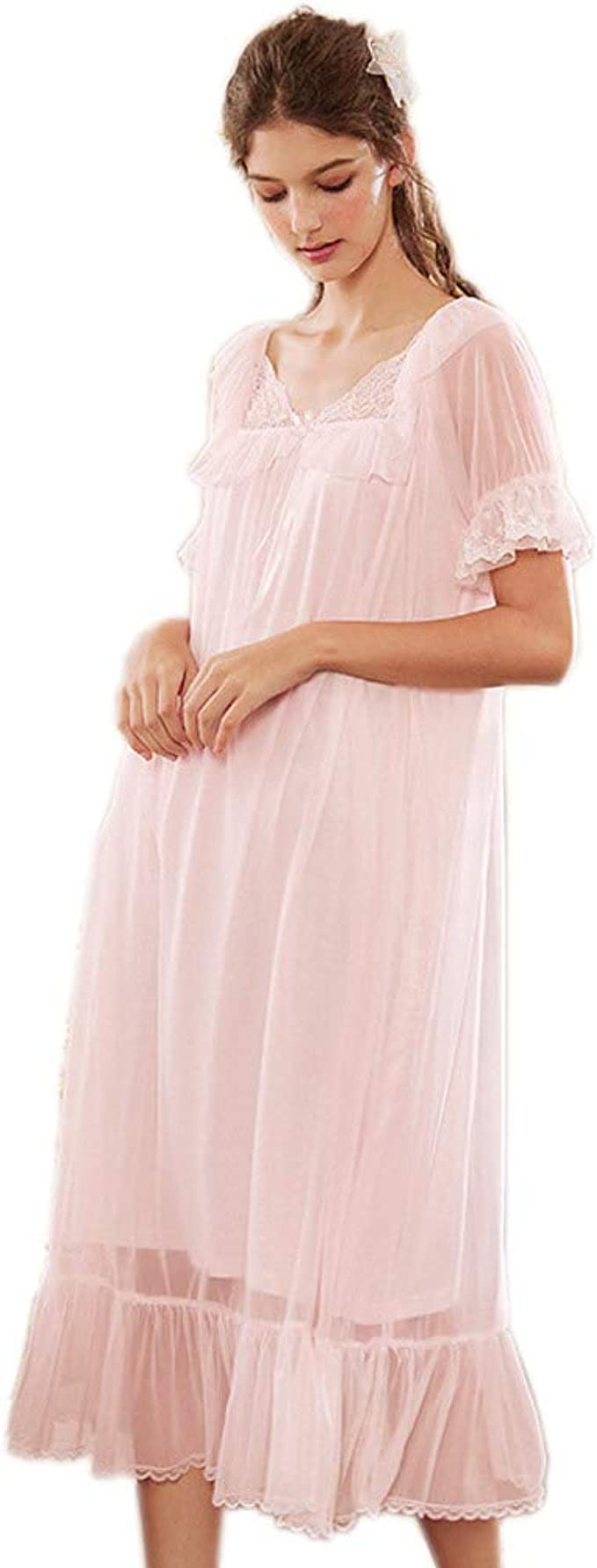 Vintage Nightgowns, Pajamas, Baby Dolls, Robes Womens Long Sheer Vintage Victorian Lace Nightgown Sleepwear Pyjamas Lounge Dress Nightwear $29.99 AT vintagedancer.com