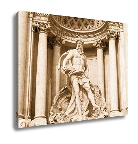 Ashley Canvas Neptune Of Trevi Fountain Fontana Di Trevi In Rome, Home Office, Ready to Hang, Sepia 20x25, AG6142789