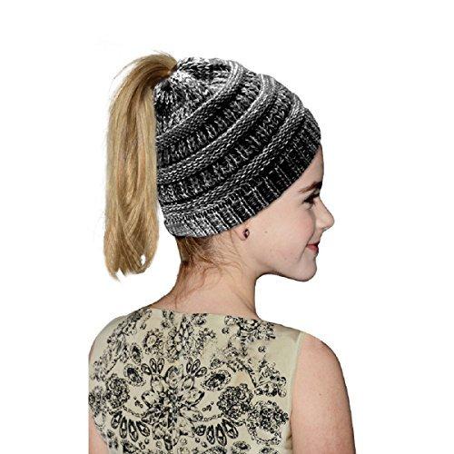 Vanzon Winter Warm Knitted Ponytail Beanie Hat Messy High Bun Beanie Soft Stretch Cap
