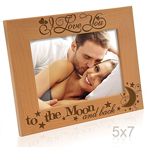 Kate Posh - I love you to the moon and back - Wood Picture Frame (5x7 Horizontal)