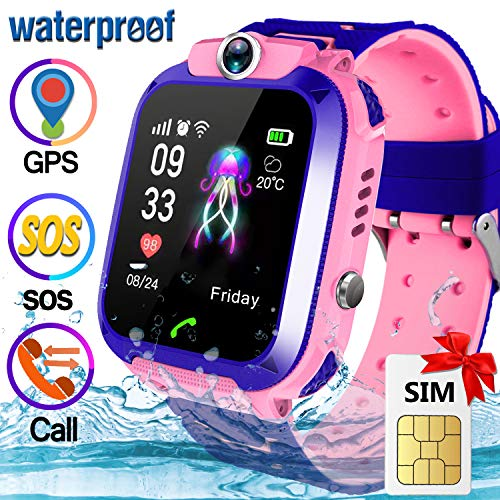 [Speedtalk SIM Included] Kid GPS Smart Watch Phone - IP67 Waterproof Smart Watch Phone for 3-12 Year with SOS Camera GPS Tracker Anti-Lost Game Smartwatch Educational Toy for Boys Girls Holiday Gift