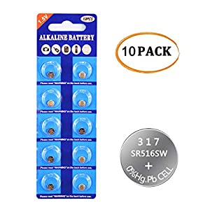 317 SR516SW Watch Battery 1.5V Button Cell (10-Pack)