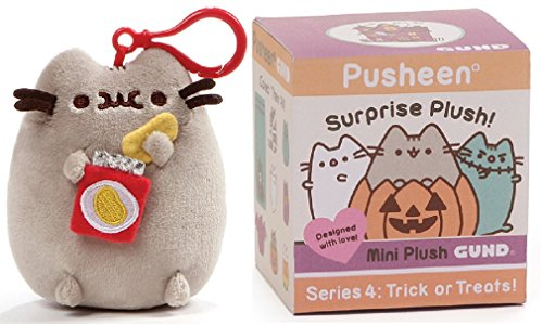 GUND Pusheen Halloween Blind Box Series 4 Bundle with Pusheen Chip Backpack Clip -