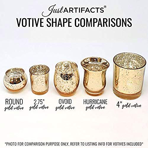 Just Artifacts 2-Inch Round Speckled Mercury Glass Votive Candle Holders (Gold, Set of 12)