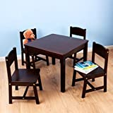 KidKraft Farmhouse Childrens Table and 4 Chairs Set, Multiple Colors (Expresso)