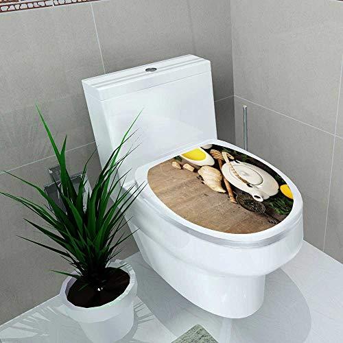 Toilet Sticker Tea Mint ger Lemon on Wooden Background Asian Food Concept Home Decor Applique Papers W13 x L16
