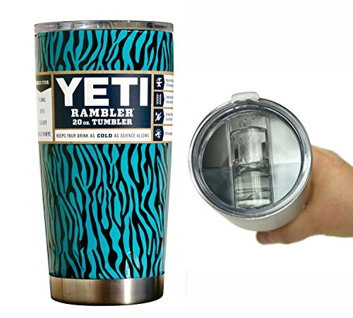 YETI Coolers 20 oz (20oz) Dipped Rambler Tumbler Cup Mug with Extra Spill Proof Lid - Keeps your 20oz drink cold or hot for hours (Teal Zebra)