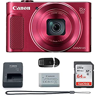 PowerShot SX620 Digital Camera w/25x Optical Zoom - Wi-Fi & NFC Enabled (RED) Camera + 64GB Memory Card Basic Bundle
