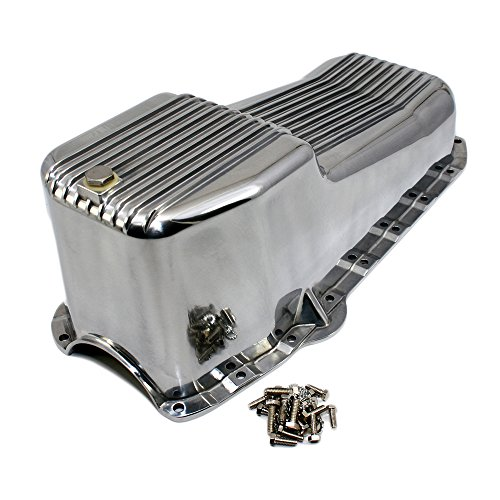 Finned Aluminum Pan Oil - Assault Racing Products A8442 Small Block Chevy Finned Polished Aluminum Oil Pan SBC 283 305 327 350