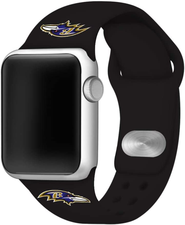 GAME TIME Baltimore Ravens Silicone Sport Watch Band Compatible with Apple Watch- 38/40mm (Black)