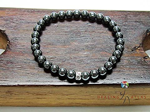 Hematite Om Mani Padme Mantra Mala Bracelet Base Chakra Hematite Mala Gift For Her or Him Healing Chakra Bracelet Hematite (Her Healing Co)