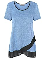 Nomorer Womens Scoop Neck A Line Splicing Casual Layered Tunic Tee Shirts