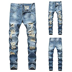 31eeafe79398c Big Teresamoon Men s Casual Autumn Denim Cotton Straight Ripped Hole  Trousers Jeans Pants ...