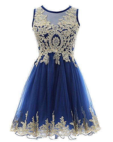 Bessdress Robes Courtes Homecoming Appliques De Dentelle D'or Paillettes Perlaient Cocktail Balle Courte Bd330 Bleu Royal