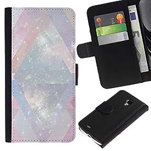 [Neutron-Star] Modelo colorido cuero de la carpeta del tirón del caso cubierta piel Holster Funda protecció Para Samsung Galaxy S4 Mini i9190 (NOT S4) [ Blanc Univers Chevron rose]