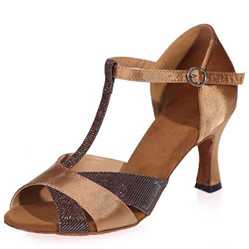 Kleid 5cm Standard Latin Tanzschuhe 7 Peeptoes Salsa Absatz Damen Jazz Elobaby Brown Glitter HZzg44