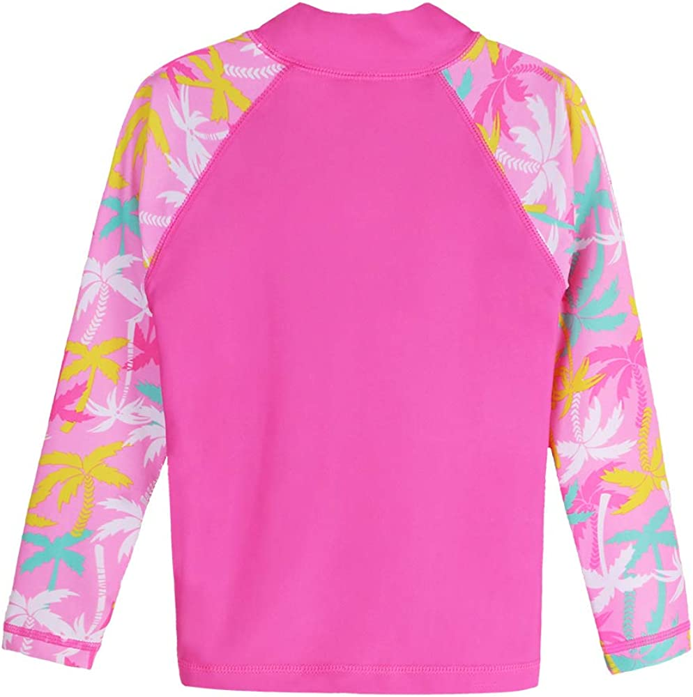 HUAANIUE Girls 2 Pieces HotPink Longsleeve Swimsuit Summmer Print Flower Sun Protection Suit UPF 50 Children Swimming Costume