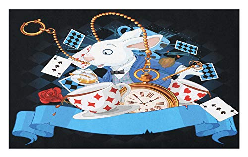 Ambesonne Alice in Wonderland Doormat, Rabbit Motion Cups Hearts and Flower Character Alice Cartoon Style, Decorative Polyester Floor Mat with Non-Skid Backing, 30 W X 18 L Inches, -