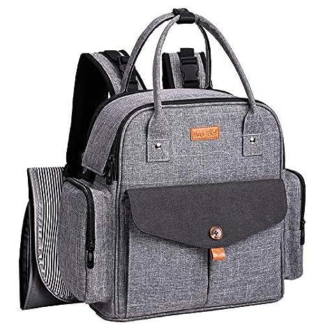 d07e2d051 Mochila grande cambiante, Mamá multifuncional Mochila cambiante Bolsa de  colchón Bolsa de pañales de gran capacidad con cambiador, 3 bolsillos  aislados para ...