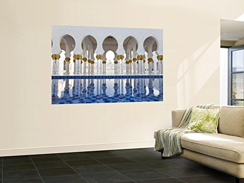 United Arab Emirates (UAE), Abu Dhabi, Sheikh Zayed Bin Sultan Al Nahyan Mosque, Gilded Columns Wall Mural by Gavin Hellier 48 x (Arab Sultan)