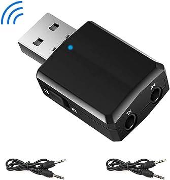 EasyULT Adaptador Bluetooth USB 5.0, Transmisor Receptor Bluetooth 3-en-1 con Audio Inalámbrico 3.5MM Cable, para PC/TV/Auriculares/Altavoces/Radio: Amazon.es: Electrónica