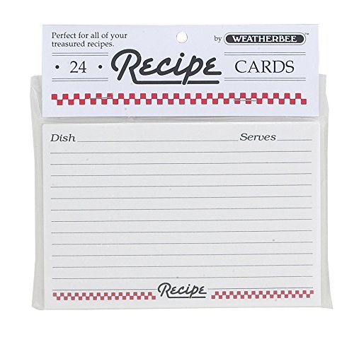 Weatherbee 064 Recipe Cards, 3 x 5-Inches, Set of 24, 3 x 5, White (3 X 5 Recipe Cards)