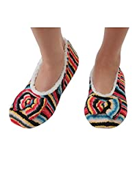 Snoozies Women's Lightweight Wavy Stripe Boho with Bow Slipper Socks
