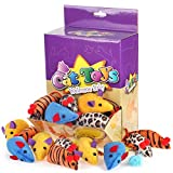 Chiwava 24PCS Cotton Cat Toys Mice Leopard series Small Mouse Kitten Interactive Toys Assorted Color