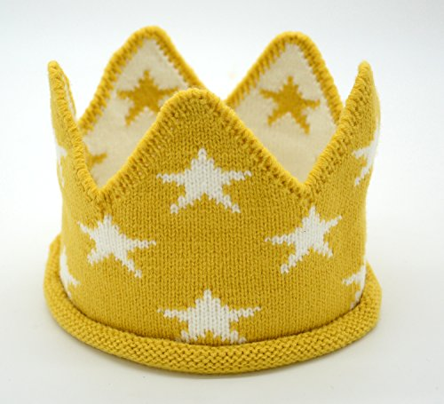 Alemon Little Star Crown Birthday Hairband Knit Hat for 1st 2nd Baby Boys, Yellow