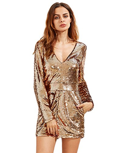 [ROMWE Women's Long Sleeve V Neck Sequin Bodycon Party Romper Dress Gold S] (Disco Jumpsuit)