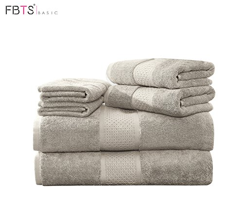 FBTS Prime Luxury Bath Towels Sets Large 6 Pack Hotel Cotton Towel Set Soft Thick for Bath and Spa Grey by FBTS Prime