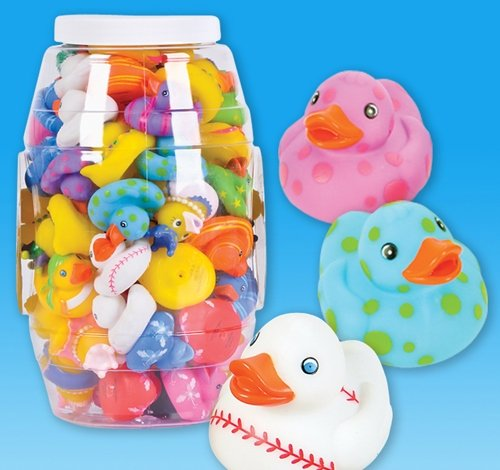 72 PCS ASSORTED RUBBER DUCK IN CANISTER, Case of 6 ()