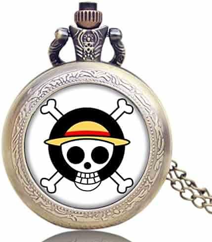 Unique Pocket Watch, Japan Animation One Piece Extension Skull Symbol Design Pocket Watch for Boys Girls, Pocket Watch Gift