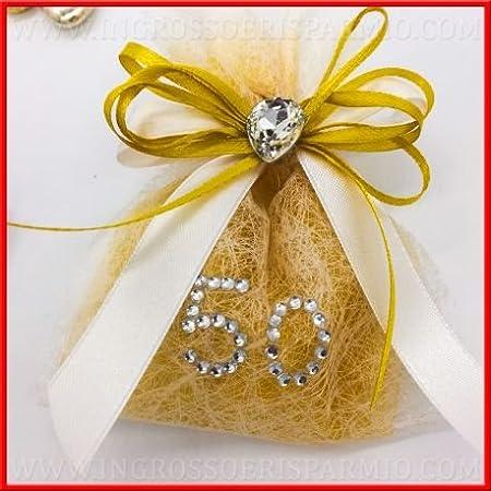 Anniversario Matrimonio Amazon.Sacchetto Portaconfetti Anniversario Matrimonio Nozze D Oro Con