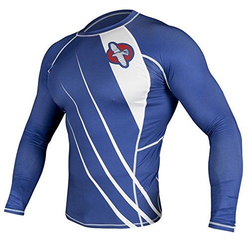 - Hayabusa Recast Long Sleeve Rash Guard, Blue/White, Small