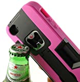 iphone 5 case with can opener - PINK BLACK BOTTLE OPENER SOFT RUBBER SKIN HARD CASE STAND WALLET FOR iPHONE 5 5s