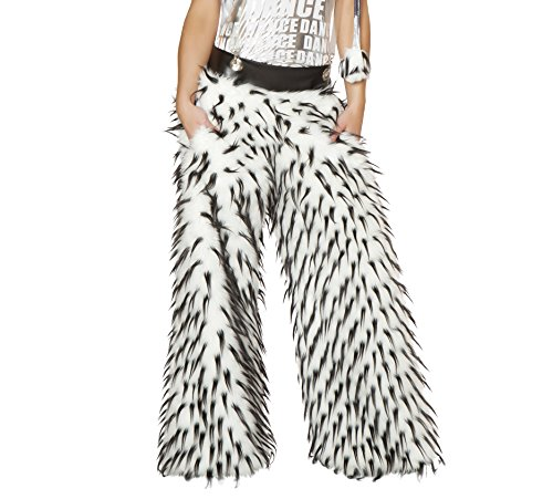 Beyond Wonderland Outfits (J. Valentine Women's Spike Faux Fur Pant with Pockets and Suspenders Fully Lined, White/Black, 32/34)