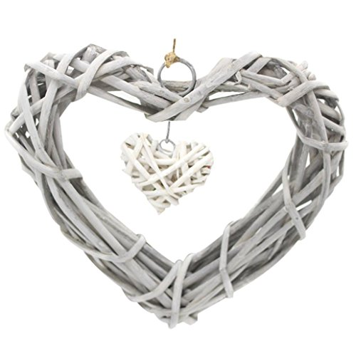 Wicker Rattan Hanging Heart Wreath Wedding Supplies Home Decoration Party (Heart Wreaths)