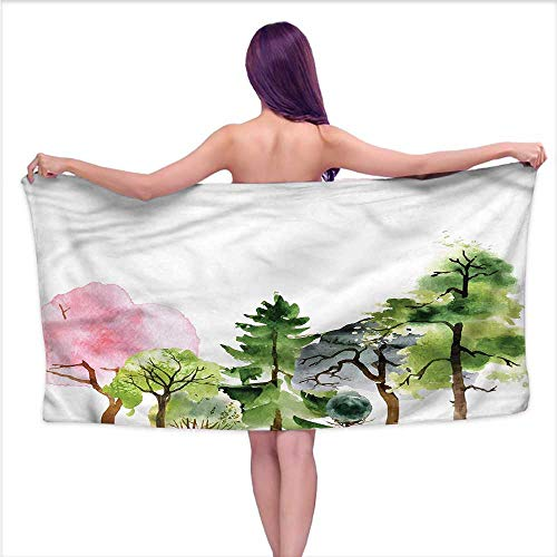 Aurauiora White Bath Towels Forest,Colorful Woodland Oak Willow,W31 xL63 for - Coat Oak Rack Woodland