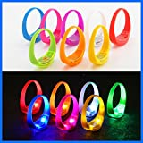 TDL – BRAND Sound Activated Light-Up LED Bracelets Kids Party Pack – 14 bracelets 7 different colors - Reacts to Music Beats and Noise with Flashing LED Strobe