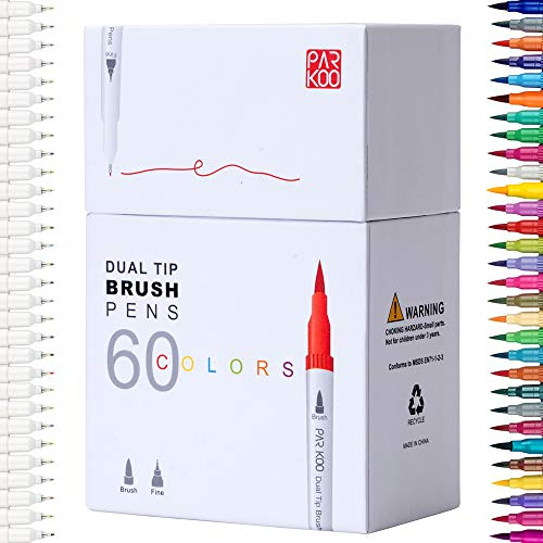 ParKoo Art Markers 60 Colors Dual Tip Brush Pens Fineliner Highlighters for Adult Coloring Books Writing Planning Drawing Sketching Calligraphy