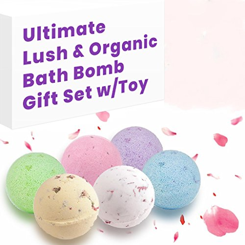 Lush Essential Oil & Dry Flowers Bath Bombs Gift Set, 6 Large 5.5 Oz Bath Soak, Natural Moisturizing for Dry Skin, Enjoying Fizzy Bubble Spa Everyday, Best Gift Idea for Moms, Wives, Girlfriend, Women (Oil Jasmine Dry)