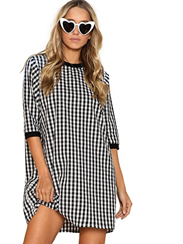 DIDK Women's Round Neck Half Sleeve Ribbed Trim Gingham Dress Black White (Trim Cotton Dress)