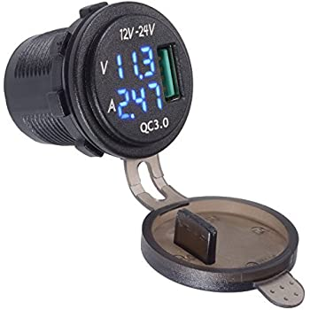 YonHan QC 3.0 USB Charger Socket Power Outlet with Blue Digital Voltmeter & Ammeter monitoring for Car Boat Marine