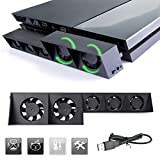 KONKY PS4 Cooling Fan, USB External 5-Fan Super Turbo Temperature Cooler with USB Cable for Sony Playstation 4 Gaming Console, Black