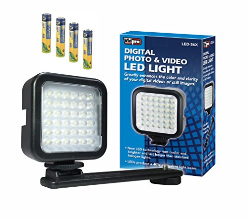 Pentax Optio T30 Digital Camera Lighting LED-36X On-Camera LED Video Light - With a Pack of 4 AAA NiMH Rechargable Batteries - 1000mAh (Rechargable Battery Pentax)