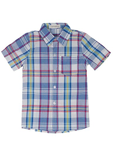 Spring&Gege Boys' Casual Short Sleeve Check Plaid Soft Sport Shirts, SkyBlue/Multi, 3-4 Years by Spring&Gege