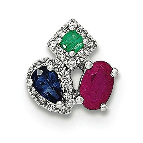Or blanc 14carats Diamant Saphir et émeraude Ruby pendentif