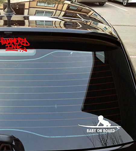 Baby on Surf Board Car Sticker Hammered Ink