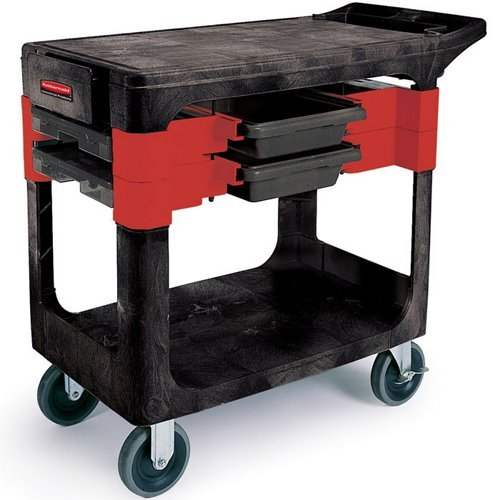- Rubbermaid Commercial Trades Cart, 2-Shelf, 330 Pounds Capacity, 19-1/4 x 38 x 33-3/8, Black (618000BLA)